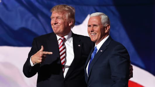 President Donald Trump with Vice President Mike Pence.