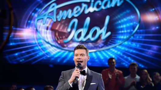 Host Ryan Seacrest speaks in the audience during 'American Idol' Finale For The Farewell Season at Dolby Theatre on April 7, 2016 in Hollywood, California.