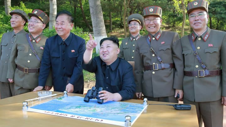 North Korean leader Kim Jong Un inspects the intermediate-range ballistic missile Pukguksong-2's launch test in this undated photo released by North Korea's Korean Central News Agency, May 22, 2017.