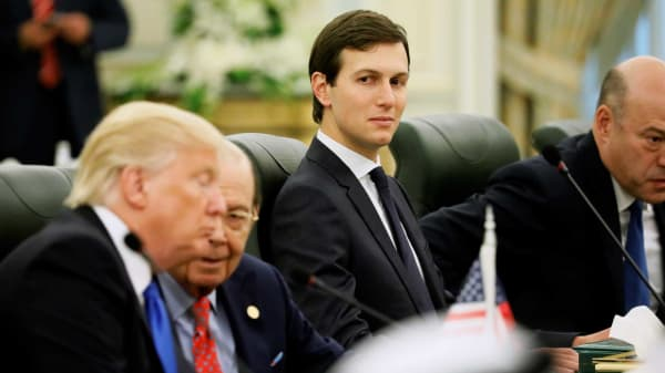 White House senior advisor Jared Kushner (C) sits alongside U.S. President Donald Trump (L) and Commerce Secretary Wilbur Ross (2nd L) as they prepare to meet with Saudi Arabia's King Salman bin Abdulaziz Al Saud and the Saudi delegation at the Royal Court in Riyadh, Saudi Arabia May 20, 2017.