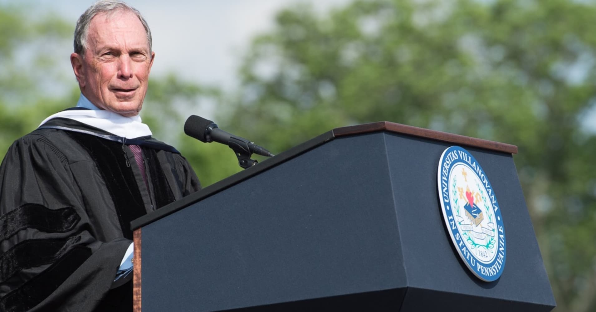 Michael Bloomberg, former Mayor of New York and founder of Bloomberg LP, speaks to the class of 2017 at Villanova University.