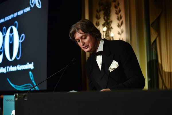 Jared Goss speaks at New York Flower Show Dinner Dance A Benefit for The Horticultural Society of New York.