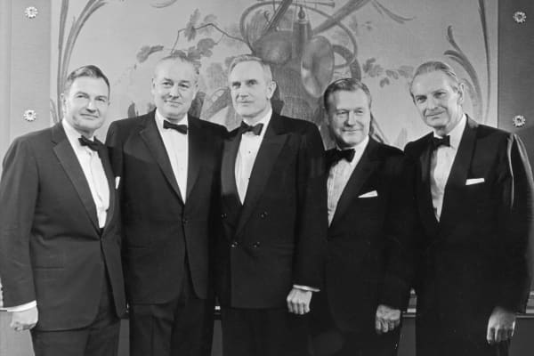 The five Rockefeller brothers. From left to right: David Winthrop, John D Rockefeller III, Nelson and Laurance.