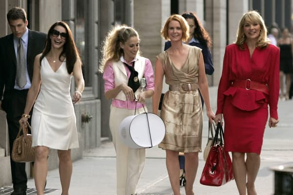 Kristin Davis as 'Charlotte,' Sarah Jessica Parker as 'Carrie Bradshaw,' Cynthia Nixon as 'Miranda,' and Kim Cattrall as 'Samantha' on location for 'Sex and the City: The Movie'