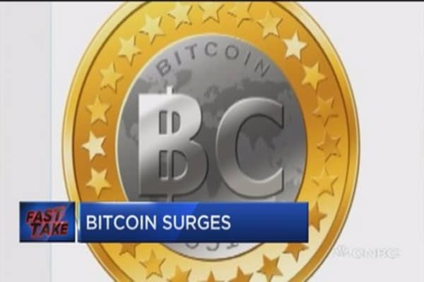 Bitcoin stock surging