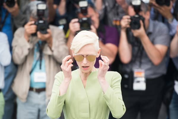 Tilda Swinton attends the 'Okja' photocall during the 70th annual Cannes Film Festival at Palais des Festivals on May 19, 2017 in Cannes, France.