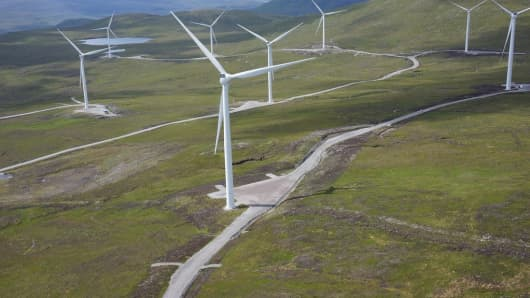 An image showing the Eneco wind farm in Lochluichart, Scotland.