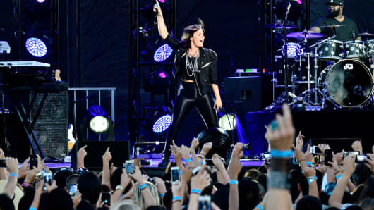 Demi Lovato performs at the Live Nation Concert Series at Harry Bridges Memorial Park in Long Beach, California.