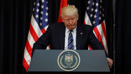 President Donald Trump speaks about the apparent attack in Manchester, England, before his remarks alongside Palestinian President Mahmoud Abbas after their meeting at the Presidential Palace in the West Bank city of Bethlehem May 23, 2017.