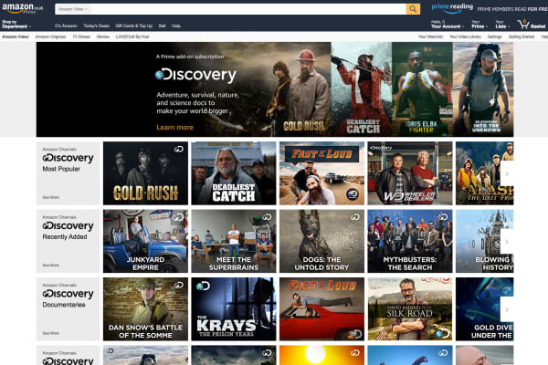 Some of the Discovery documentaries available through Amazon Channel