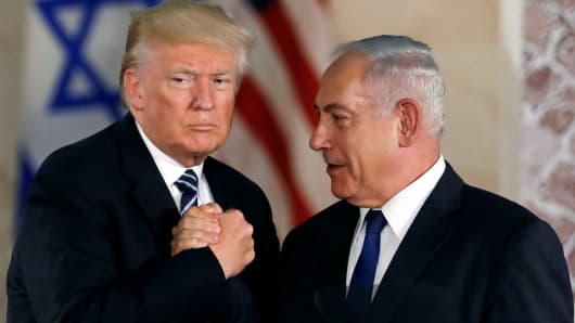 President Donald Trump and Israeli Prime Minister Benjamin Netanyahu shake hands after Trump's address at the Israel Museum in Jerusalem May 23, 2017.