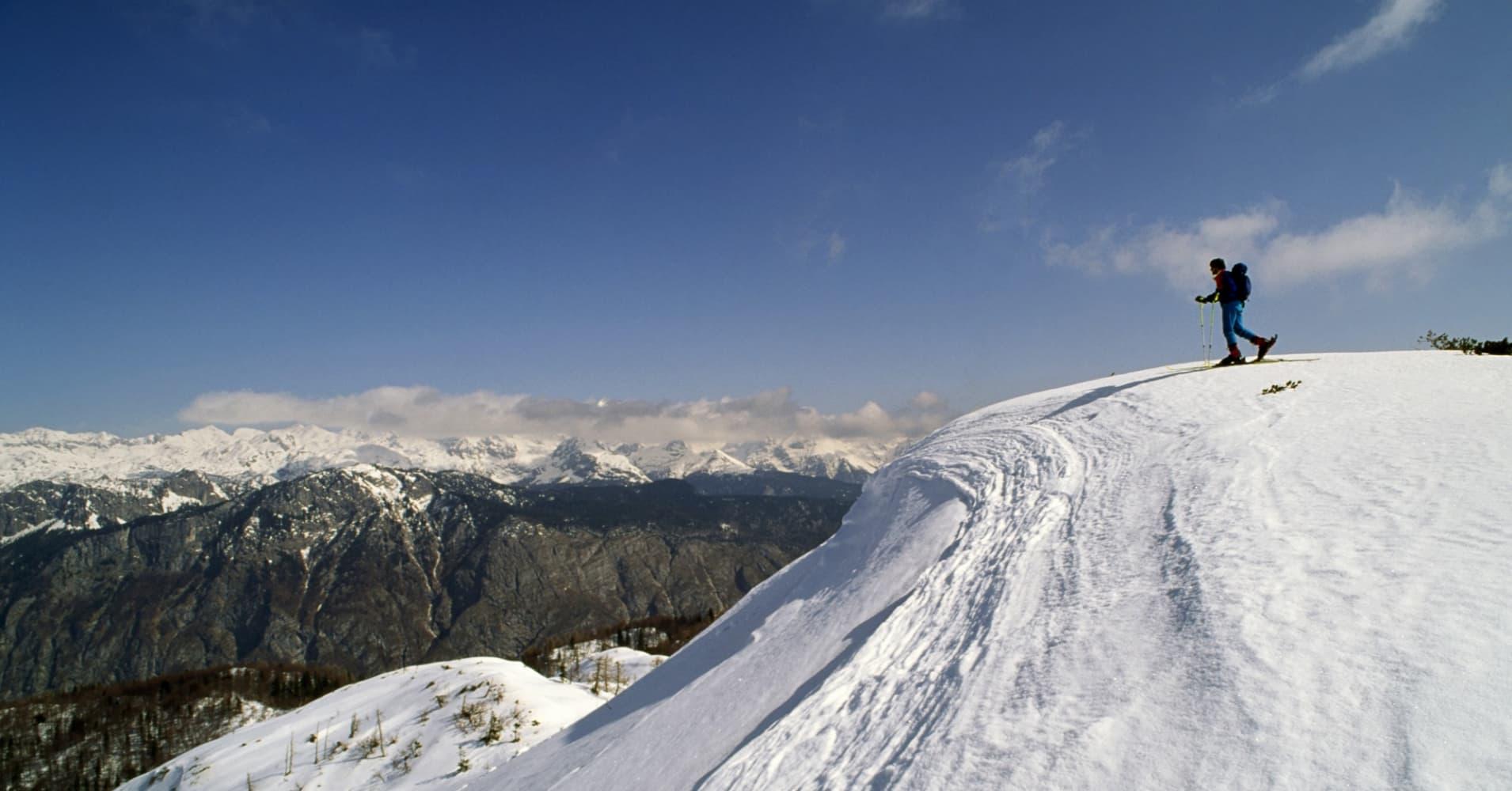 Ski-mountaineering in the Triglav national park, Slovenia.