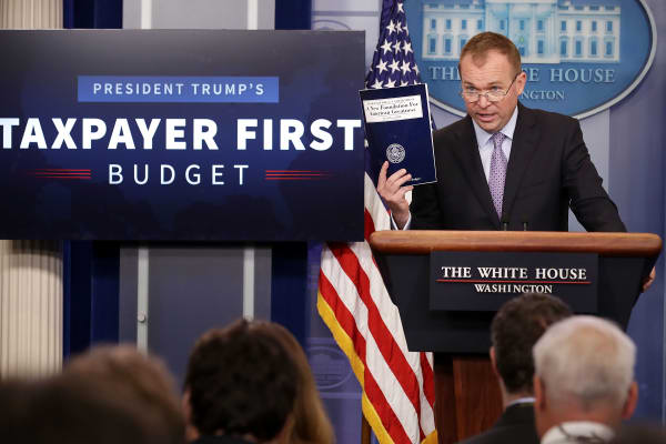 Office of Management and Budget Director Mick Mulvaney holds a news conference to discuss the Trump Administration's proposed FY2018 federal budget in the Brady Press Briefing Room at the White House May 23, 2017 in Washington, DC.
