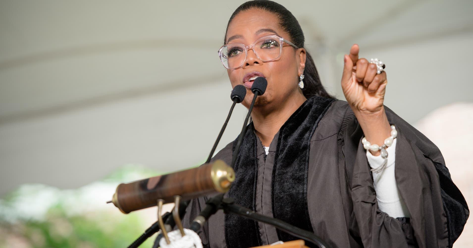 Oprah Winfrey, here giving a graduation speech at Agnes Scott College
