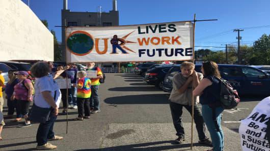 Protesting Amazon's employment practices