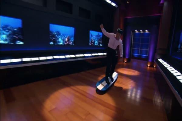 Robert herjavec and daymond john go surfing on a for Shark tank motorized skates