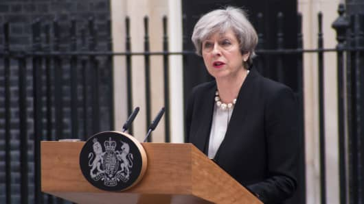 The Prime Minister, Theresa May, is pictured while speaks to the media at Downing Street, following the Manchester terror attack, London on May 23, 2017.