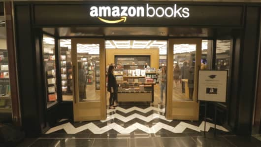 Amazon's first New York City bookstore, Amazon Books, before its May 25, 2017 opening near Columbus Circle in Manhattan.