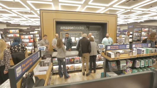 Amazon's first New York City bookstore, Amazon Books, before its May 25, 2017 opening near Columbus Circle in Manhattan. Customers can check out the traditional way or with the Amazon app.