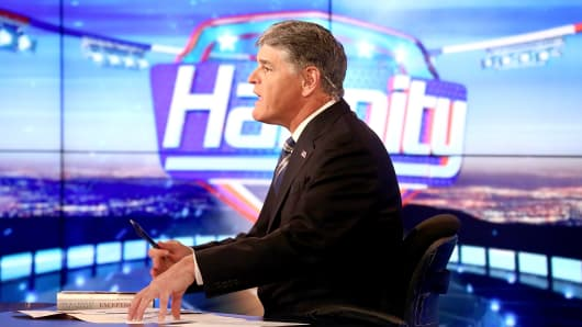 Sean Hannity on the set of FOX News Channel's 'Hannity' at FOX Studios on August 31, 2015 in New York City.