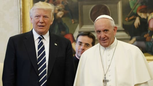 President Donald Trump and Pope Francis meet at the Vatican, May 24, 2017.