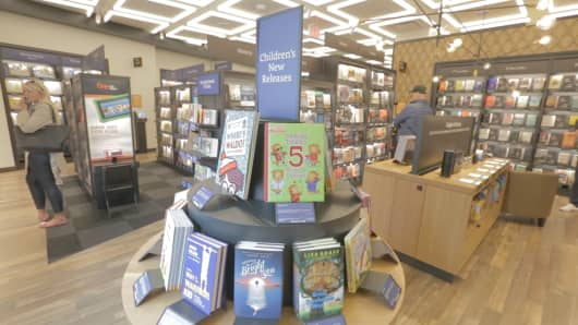 Amazon's first New York City bookstore, Amazon Books, before its May 25, 2017 opening near Columbus Circle in Manhattan. Children's books that get the highest reviews on Amazon.com are organized and displayed by age group.