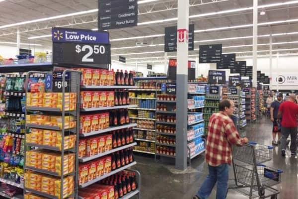A shopper in a Walmart store.
