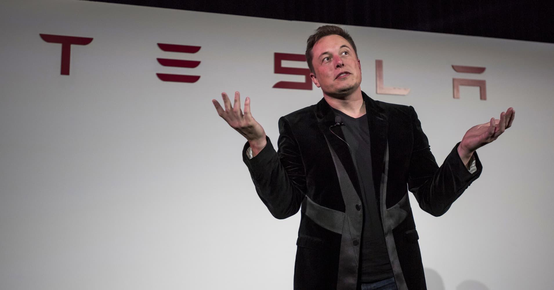 Elon Musk, chairman and chief executive officer of Tesla Motors Inc.