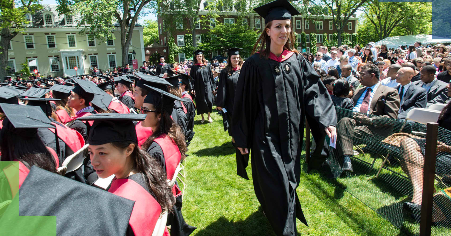 Commencement ceremonies at the Harvard Business School campus in front of Baker Library.
