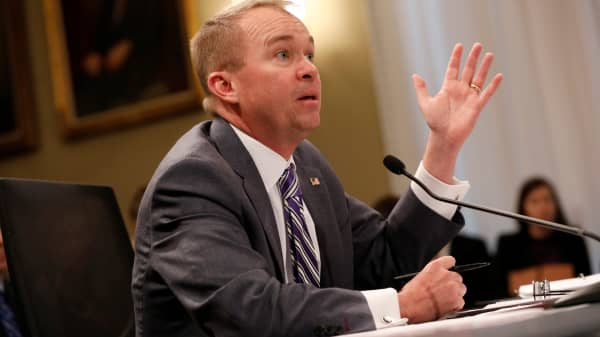 Office of Management and Budget Director Mick Mulvaney testifies before the House Budget Committee about President Donald Trump's 2018 budget proposal on Capitol Hill in Washington, D.C., U.S. May 24, 2017.