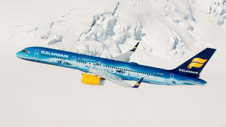 Icelandair's new glacier-themed plane.