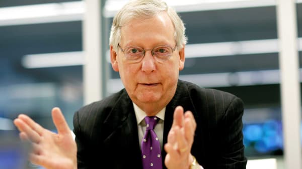 Senate Majority Leader Mitch McConnell (R-KY) speaks to Reuters during an interview in Washington, May 24, 2017.