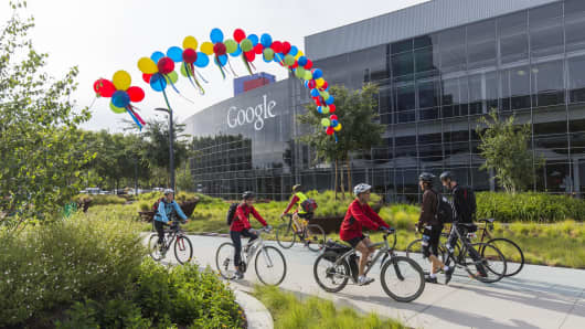 Google employees arriving after bicycling to work at the Googleplex in Mountain View, CA.
