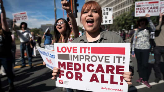Participants in the Medicare for All Rally in Los Angeles, California on February 4, 2017.
