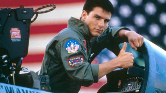 "Tom Cruise on the set of ""Top Gun."""
