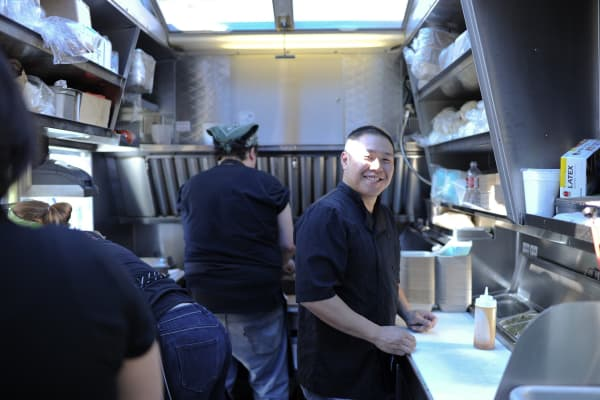 Chef and co-owner Curtis Lam in the Chairman truck kitchen