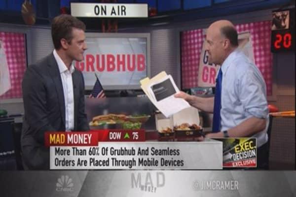 Cramer digs into GrubHub's strategy