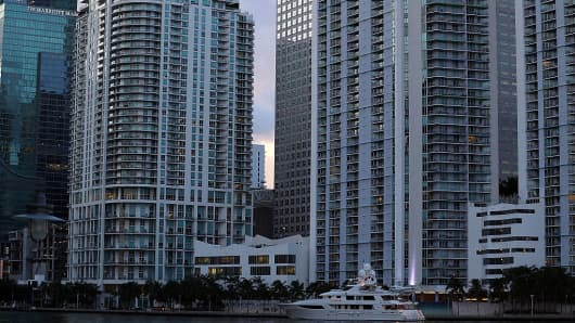 Part of the skyline of the City of Miami, Florida in the U.S. on Sept. 15, 2016.