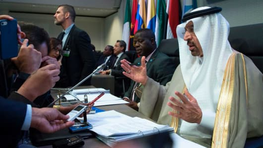 Saudi Arabia's energy minister and president of the Organization of the Petroleum Exporting Countries (OPEC), Khalid al-Falih (R), attends the 172nd meeting of the OPEC Conference, at OPEC headquarters in Vienna, Austria, on May 25, 2017.