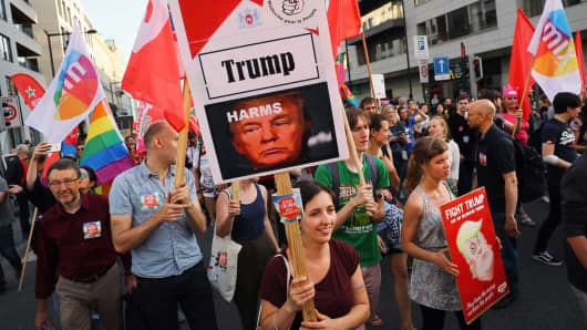 A protest in Brussels against the visit of Donald Trump.