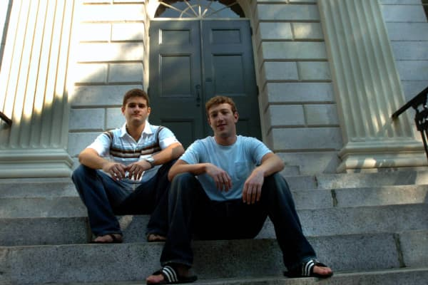 Mark Zuckerberg and Dustin Moscovitz at Harvard Yard in September 2004.