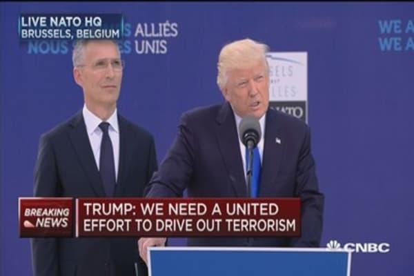 President Trump presents World Trade Center fragment to NATO