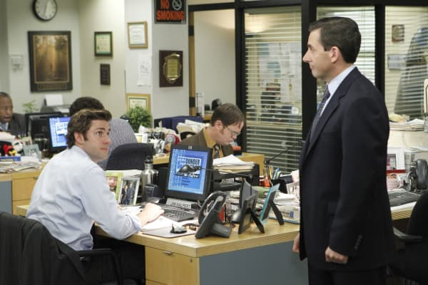 "John Krasinski as Jim Halpert, Rainn Wilson as Dwight Schrute, Steve Carell as Michael Scott in ""The Office"""