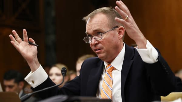 Office of Management and Budget Director Mick Mulvaney testifies before the Senate Budget Committee May 25, 2017 in Washington, DC.