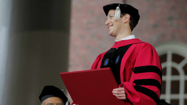 Facebook founder Mark Zuckerberg holds his honorary Doctor of Laws degree during the 366th Commencement Exercises at Harvard University in Cambridge, Massachusetts, U.S., May 25, 2017.