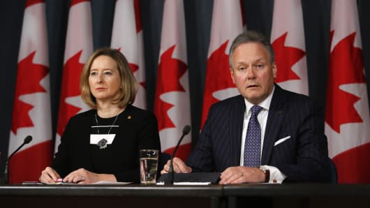 The Bank of Canada (BoC) senior deputy governor, Carolyn Wilkins, pictured on the left with governor, Stephen Poloz, has said the country will not be using blockchain technology on its national payment infrastructure.