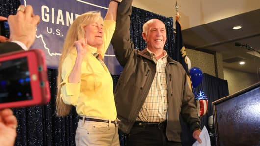 Republican Greg Gianforte celebrates with supporters after being declared the winner at a election night party for Montana's special House election against Democrat Rob Quist at the Hilton Garden Inn on May 25, 2017 in Bozeman, Montana.