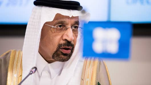 Khalid Bin Abdulaziz Al-Falih, Saudi Arabia's energy minister and president of OPEC, speaks during a news conference following the 172nd Organization of Petroleum Exporting Countries (OPEC) meeting in Vienna, Austria, on Thursday, May 25, 2017.