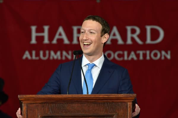 Facebook's Mark Zuckerberg delivers an address at Harvard's 366th commencement exercises on May 25, 2017 in Cambridge, Massachusetts.