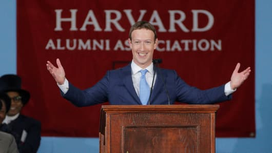 Facebook founder Mark Zuckerberg speaks during the Alumni Exercises following the 366th Commencement Exercises at Harvard University in Cambridge, Massachusetts, U.S., May 25, 2017.